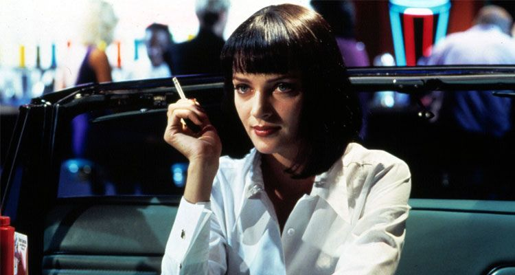 اوما ثورمان Uma Thurman تدخن في المطعم في فيلم بالب فيكشن Pulp Fiction