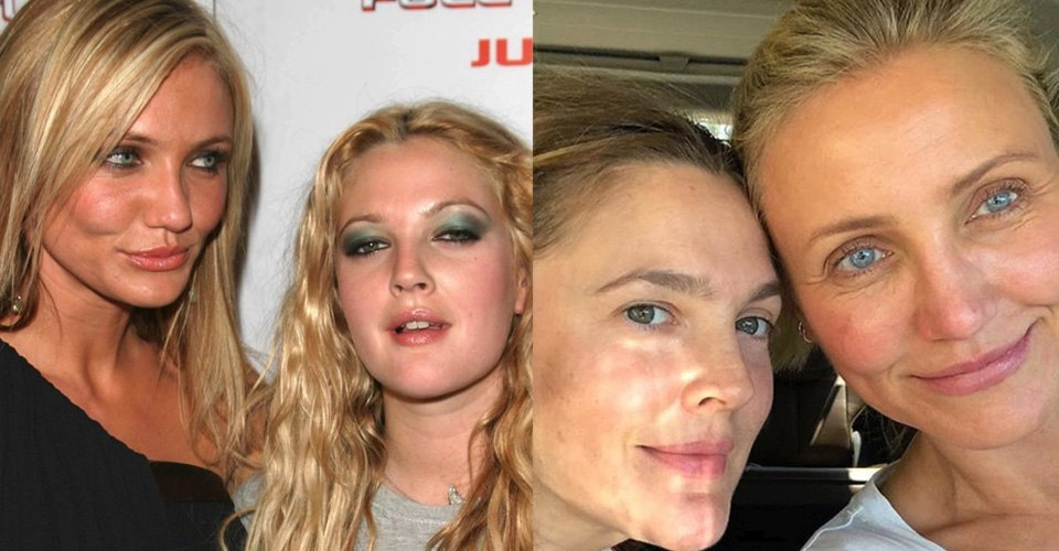 drew barrymore and cameron diaz without makeup