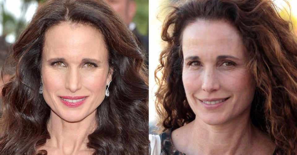 Andie Macdowell without makeup